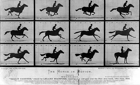 a Eadweard Muybridge'in ünlü fotoğrafı, dört nala ileri koşan bir atlar